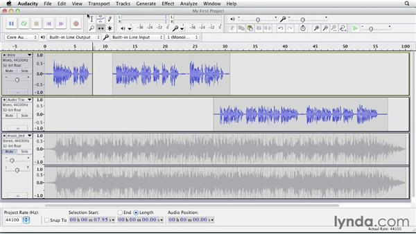 Splitting clips: Up and Running with Audacity