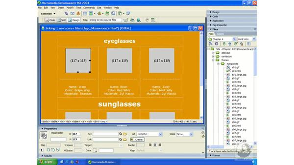 link to new source file: Dreamweaver MX 2004 Essential Training