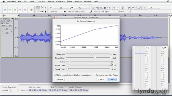 Using compression: Up and Running with Audacity