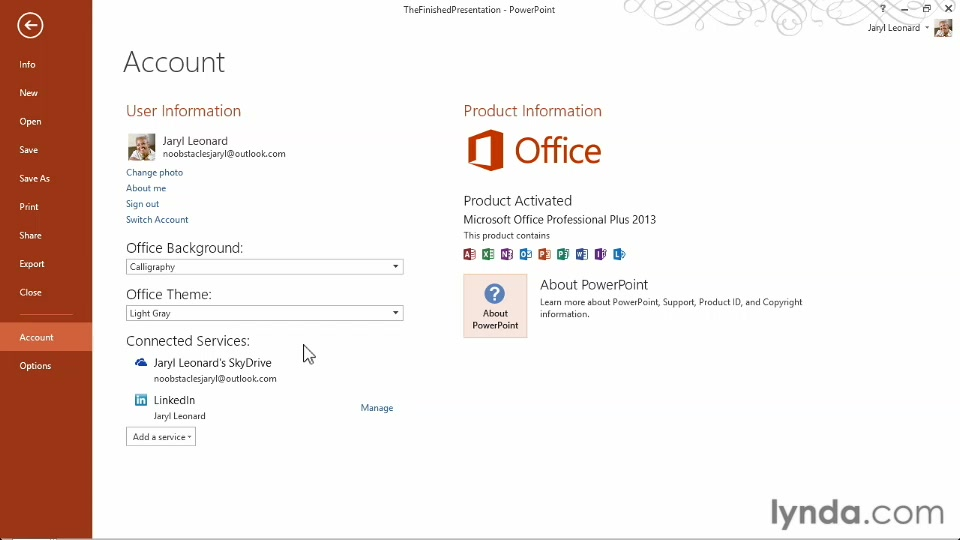 connecting powerpoint to your skydrive account