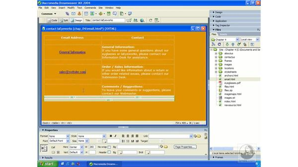 email links: Dreamweaver MX 2004 Essential Training