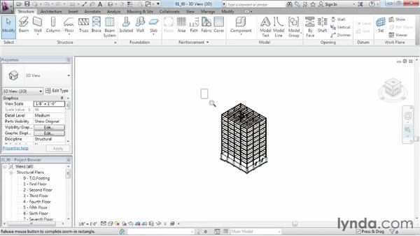 Zooming, panning, and using the ViewCube to navigate the workspace: Revit Structure 2013 Essential Training