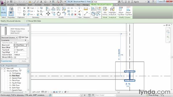 Using the Project Browser to view component data in a project: Revit Structure 2013 Essential Training