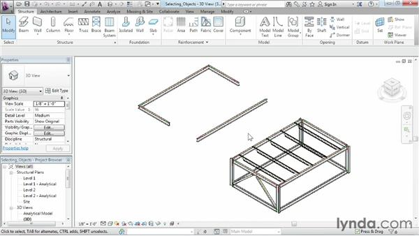 Selecting objects: Revit Structure 2013 Essential Training