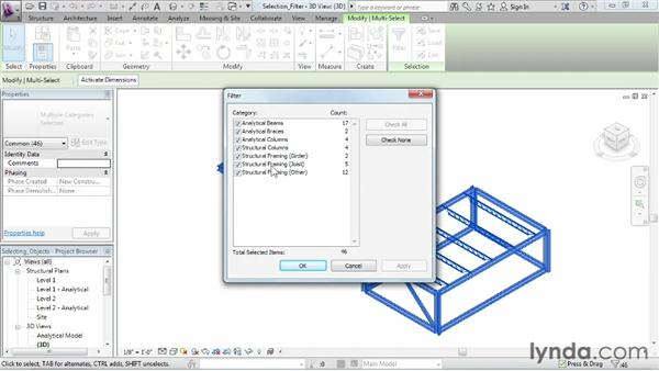 Filtering a selection: Revit Structure 2013 Essential Training