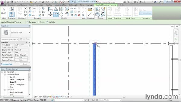 Copying items in a project: Revit Structure 2013 Essential Training
