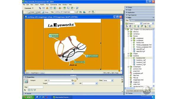 image maps: Dreamweaver MX 2004 Essential Training