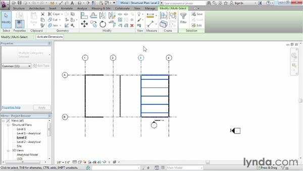 Mirroring objects in a project: Revit Structure 2013 Essential Training