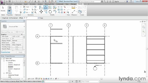 Duplicating or moving objects with the Offset command: Revit Structure 2013 Essential Training