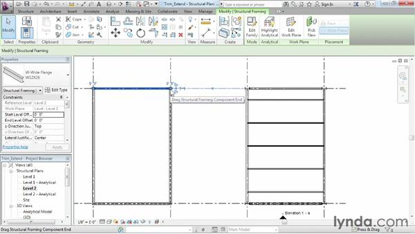 Trimming and extending objects: Revit Structure 2013 Essential Training
