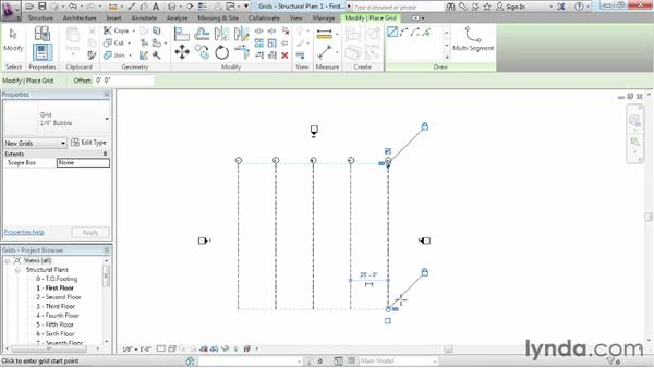 Creating and modifying structural grids: Revit Structure 2013 Essential Training
