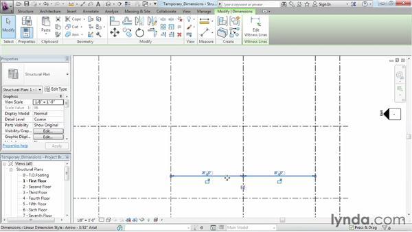 Using temporary dimensions: Revit Structure 2013 Essential Training