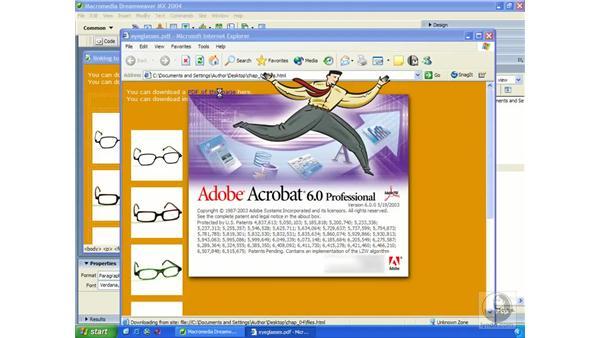 linking to files: Dreamweaver MX 2004 Essential Training