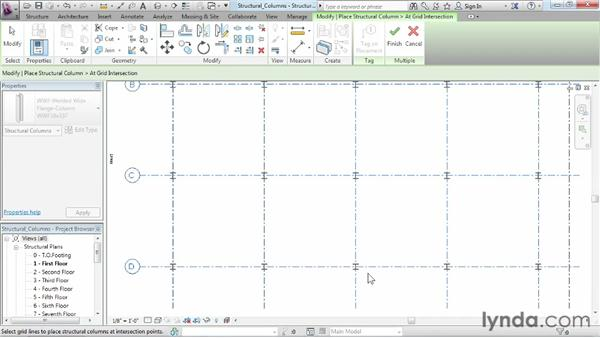 Placing structural columns: Revit Structure 2013 Essential Training