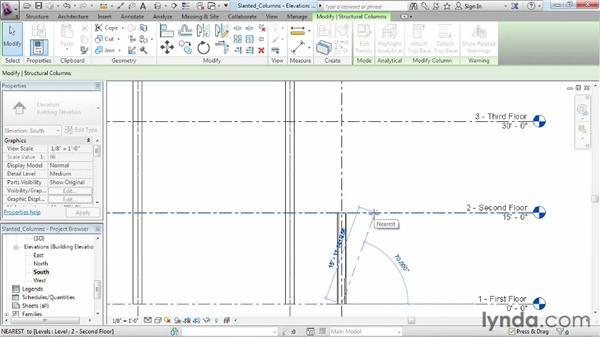 Placing slanted structural columns: Revit Structure 2013 Essential Training