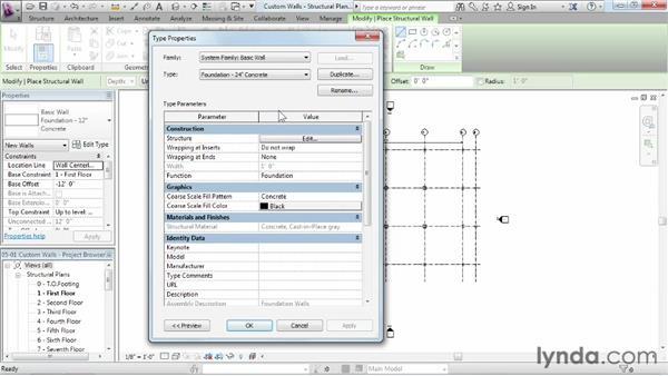 Creating custom walls: Revit Structure 2013 Essential Training