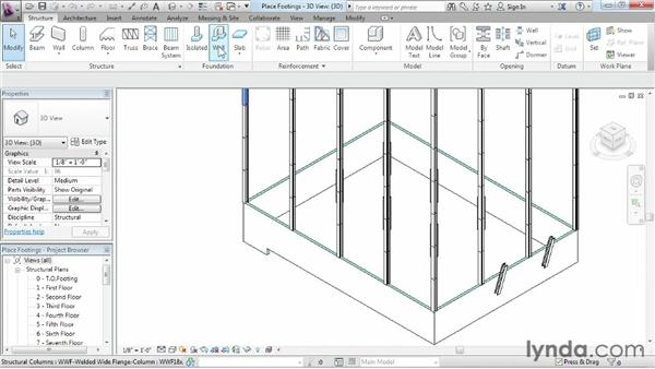 Placing footings: Revit Structure 2013 Essential Training