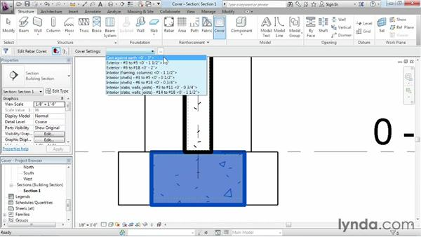 Setting the cover depth: Revit Structure 2013 Essential Training