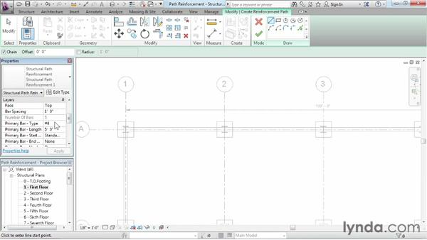 Adding reinforcement on a path: Revit Structure 2013 Essential Training