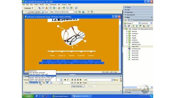 adding/formatting text with XHTML: Dreamweaver MX 2004 Essential Training