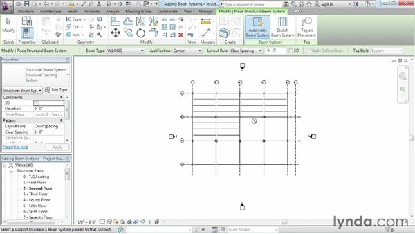 Adding beam systems: Revit Structure 2013 Essential Training