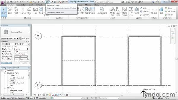 Adding coping to a beam to change its shape: Revit Structure 2013 Essential Training