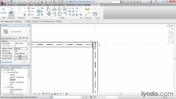 Editing beam joins: Revit Structure 2013 Essential Training