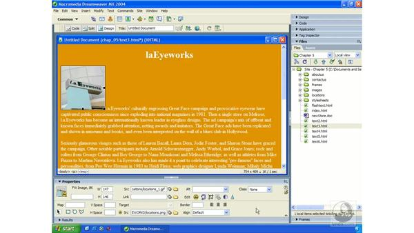 aligning text: Dreamweaver MX 2004 Essential Training