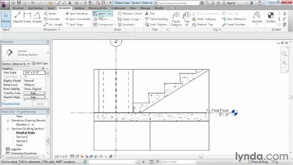 Adding extra detail information with detail lines: Revit Structure 2013 Essential Training