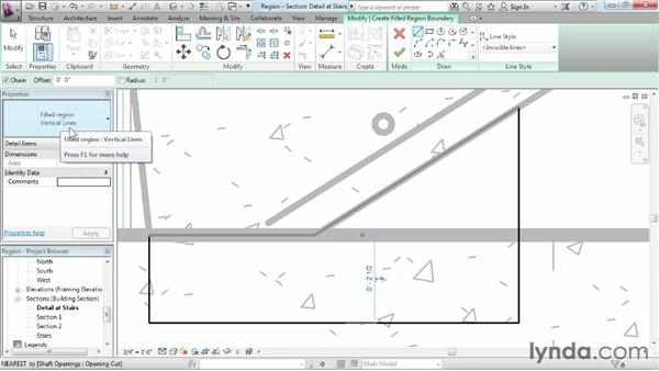 Using regions to create material indications and patterns: Revit Structure 2013 Essential Training