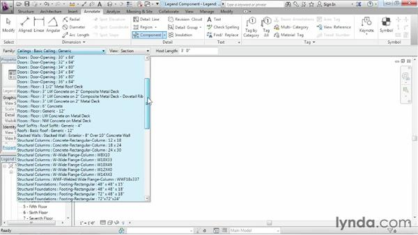 Adding legend components to a legend: Revit Structure 2013 Essential Training