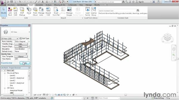 Linking in a Revit model: Revit Structure 2013 Essential Training