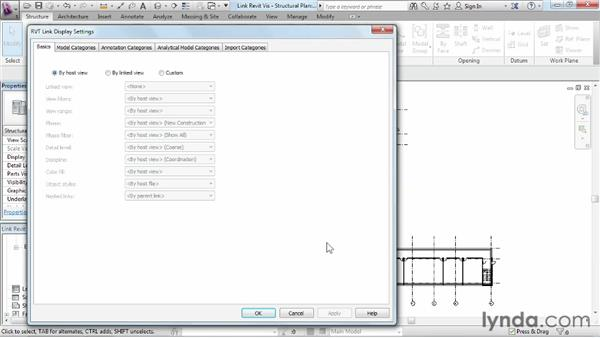 Controlling linked objects in model visibility: Revit Structure 2013 Essential Training