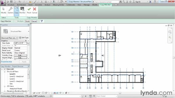 Options for copying and monitoring important building elements in a structure: Revit Structure 2013 Essential Training