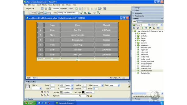 formatting tables: Dreamweaver MX 2004 Essential Training