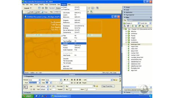 aligning images/text with tables: Dreamweaver MX 2004 Essential Training