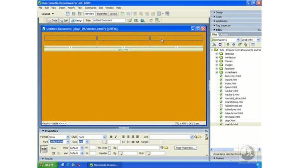 percentage-based table alignment: Dreamweaver MX 2004 Essential Training