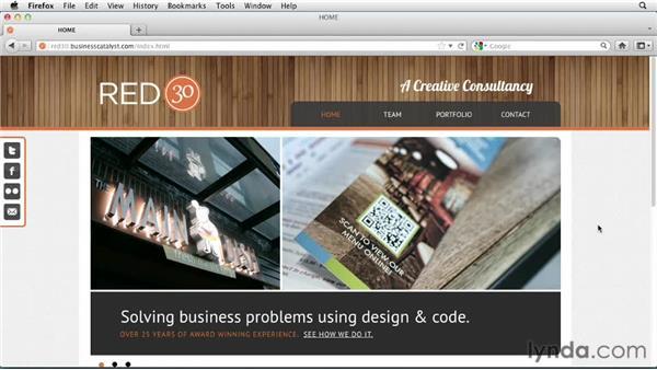 Touring the Red30 Design portfolio site: Designing a Portfolio Website with Muse