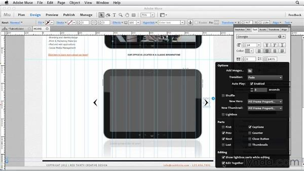 Creating the office photos slideshow: Designing a Portfolio Website with Muse