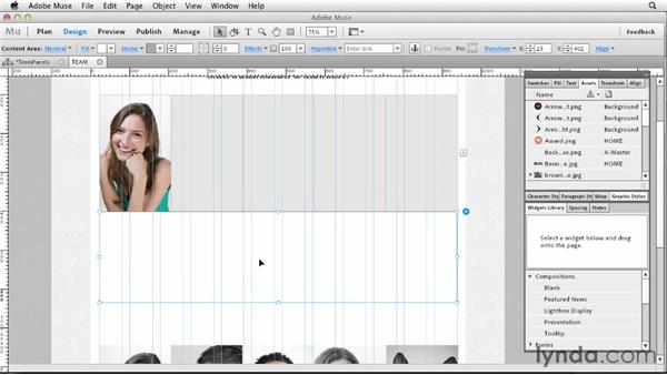 Styling the tabbed photo panels on the team page: Designing a Portfolio Website with Muse