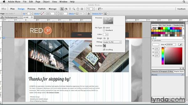 Adding full-size images as backgrounds: Designing a Portfolio Website with Muse