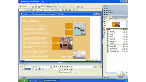 working with layers: Dreamweaver MX 2004 Essential Training