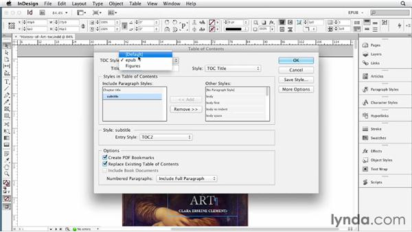 Adding a custom TOC as the first page of an EPUB file: InDesign CS6 to EPUB, Kindle, and iPad