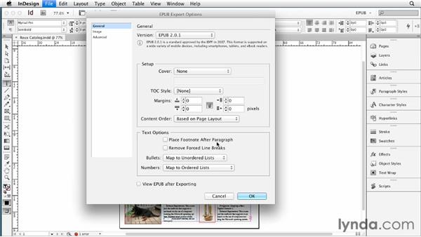 Choosing general export options: InDesign CS6 to EPUB, Kindle, and iPad