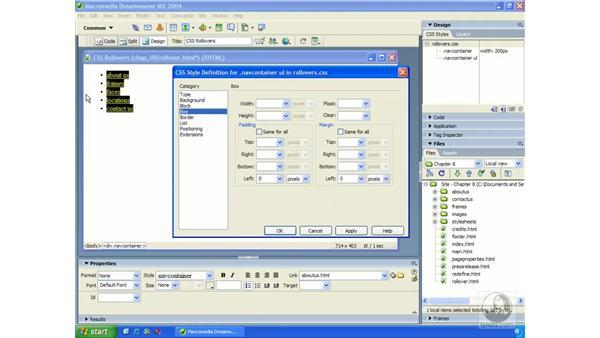CSS rollovers: Dreamweaver MX 2004 Essential Training