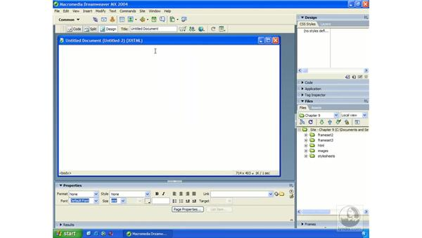 creating/saving frames: Dreamweaver MX 2004 Essential Training
