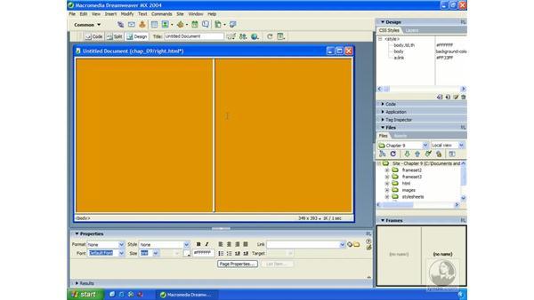 modifying frames: Dreamweaver MX 2004 Essential Training