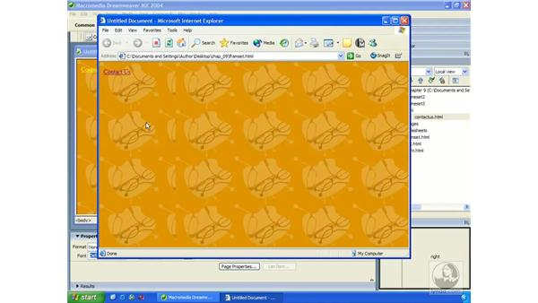 adding background images to frames: Dreamweaver MX 2004 Essential Training