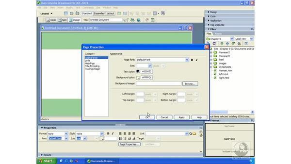 frames objects: Dreamweaver MX 2004 Essential Training
