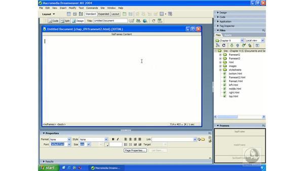 no frames content: Dreamweaver MX 2004 Essential Training